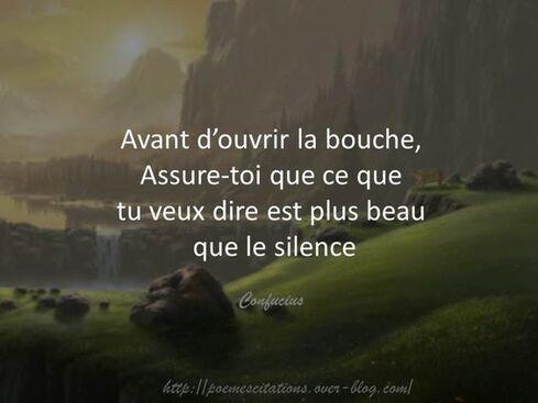 """confucius """"Avant d'ouvrir sa bouche, assure-toi que ce que tu veux dire est plus beau que le silence."""" Confucius"""
