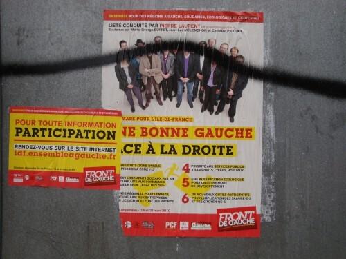 Affiche politique Régionales Front de Gauche