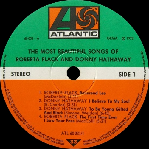 "Roberta Flack & Donny Hathaway : Album "" The Most Beautiful Songs Of Roberta Flack & Donny Hathaway "" Atlantic Records ATL 60031-1 60031-2 [ GE ]"