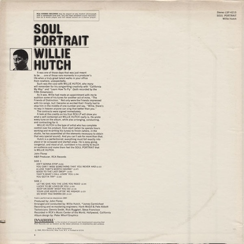 "Willie Hutch : Album "" Soul Portrait "" RCA Victor Records LSP-4213 [ US ]"