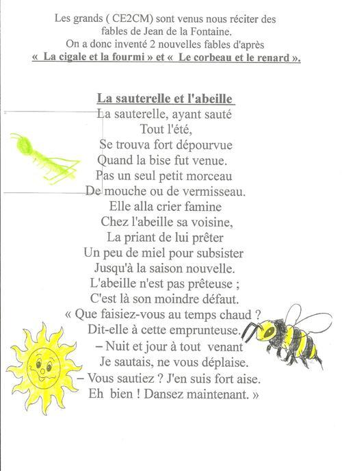 la sauterelle et l'abeille