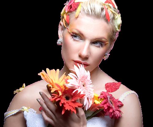 Tube nők virággal