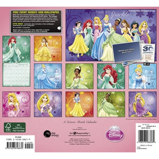 princesas-disney-2013-calendario-princess-calendar-blancanieves-cenicienta-aurora-ariel-bella-jasmin