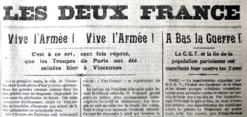 Pour ou contre la « loi des Trois ans » (L'Espérance du peuple du 17 mars 1913).