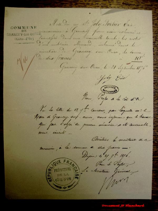 Jean-Paul Blanchard a trouvé des documents intéressants au sujet du Prussien inhumé à Grancey sur Ource....