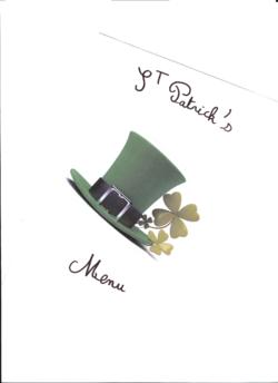 St Patrick's menu