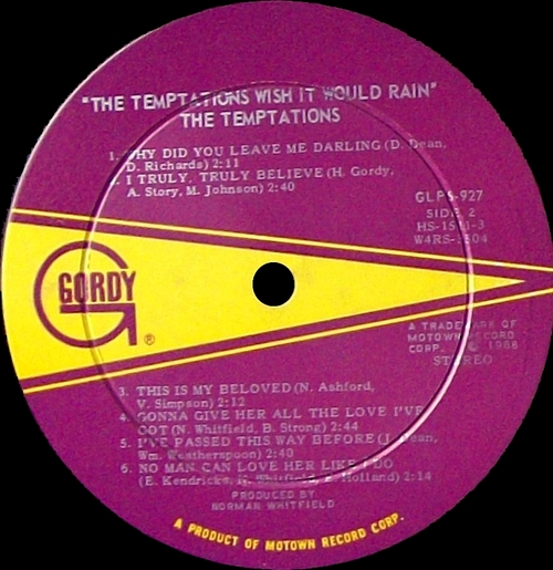 "The Temptations : Album "" Wish It Would Rain "" Gordy Records GLPS 927 [ US ]"