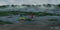 JohanneKourie- Vacances au Bic-Huile sur toile 12X24