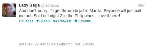 Lady Gaga mentionnes Beyonce sur son Twitter