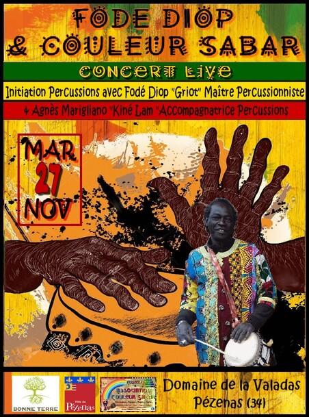 ★ Concerts Fodé Diop & Couleur Sabar [27 Nov & 6 - 15 Déc 2018]