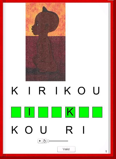 didapage pour écrire les mots principaux dans Kirikou