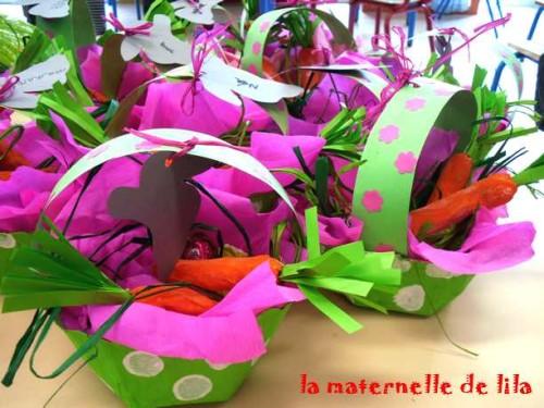 Panier de p ques ou panier de printemps laclassedelila - Fabrication panier de paques ...