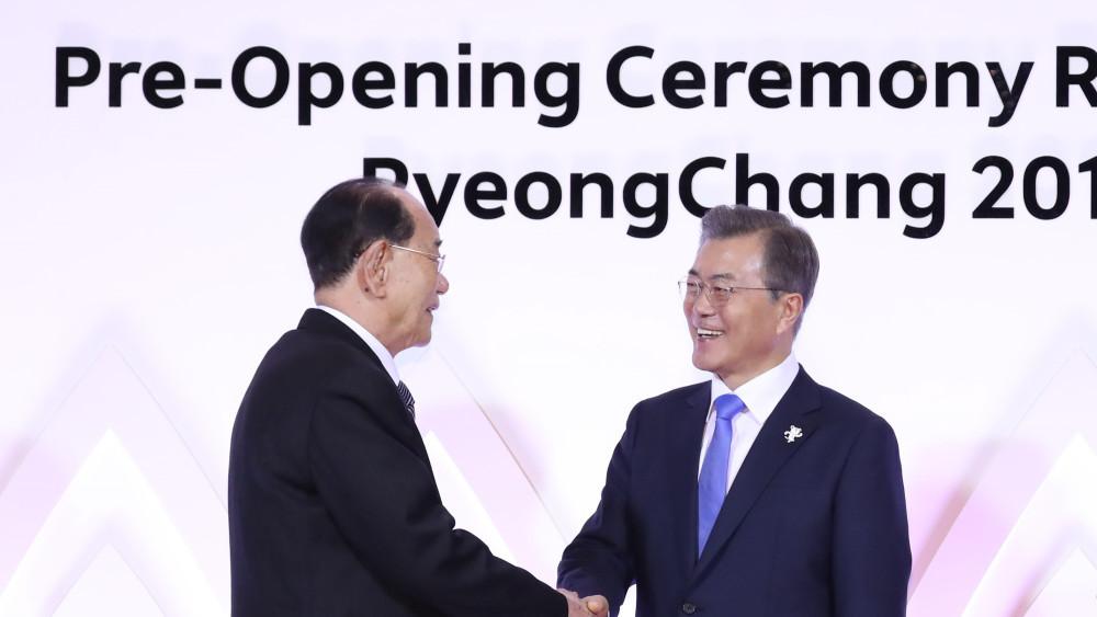 Les présidents Kim Yong-nam et Moon Jae-in