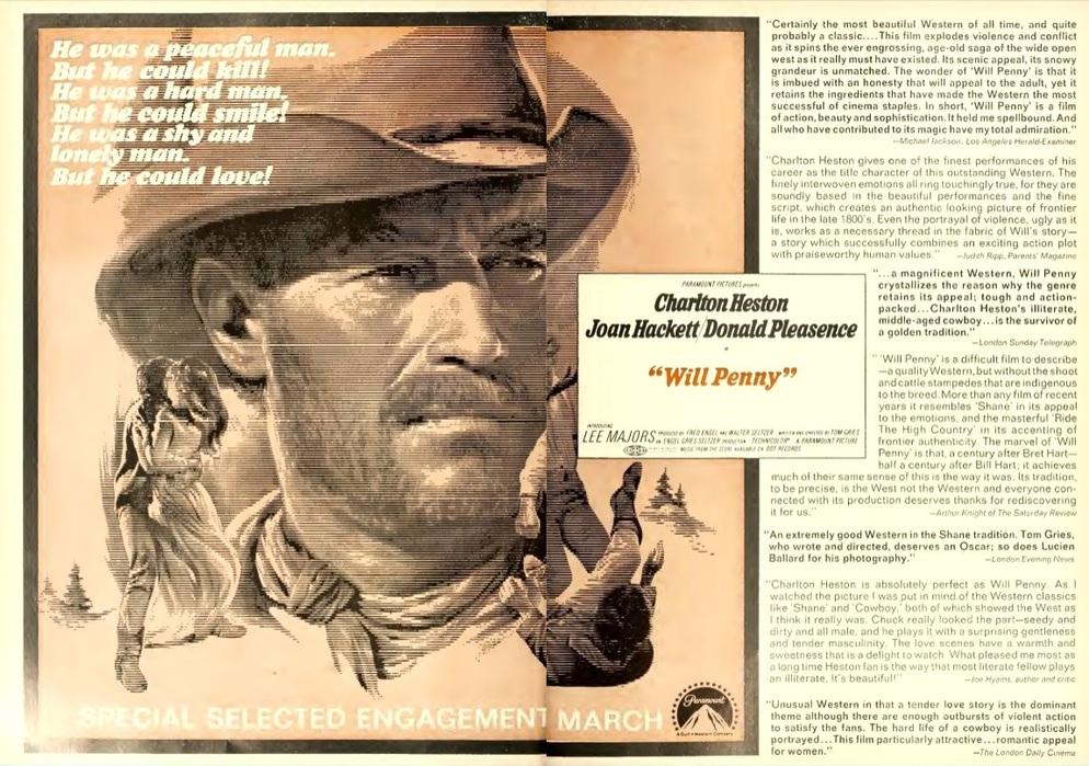 WILL PENNY  BOX OFFICE USA 1968