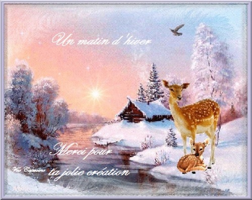 "Vos très belles créations ""Un matin d'hiver"" les amis (ies)"