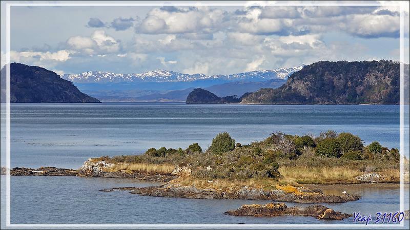 Vue panoramique sur Bahia Lapataia, avec, au loin, les sommets enneigés de l'Isla Navarino (Chili) - Terre de Feu - Argentine