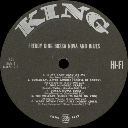 "Freddy King : Album "" Bossa Nova And Blues "" King Records 821 [ US ]"