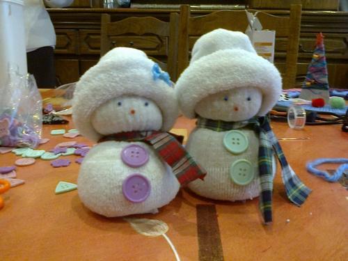 Bonhommes de neige en chaussettes