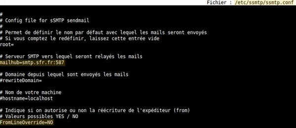 Configuration simple d'un MTA avec sSMTP