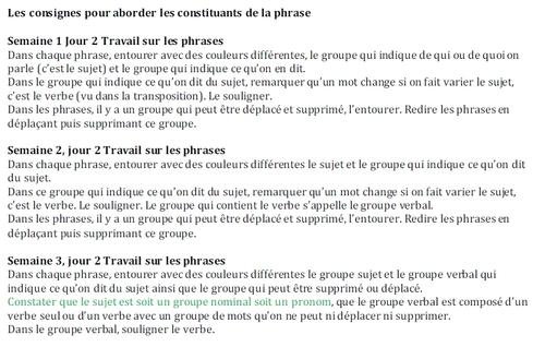 Documents de Mme Picot sur les ajustements des programmes