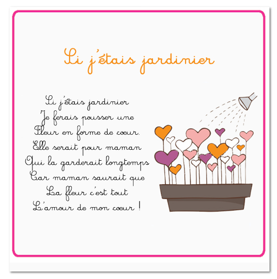 Carte Et Poésie Pour La Fête Des Mamans 2016 Classe De Sof En