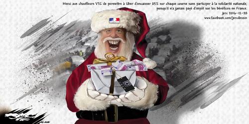 dessin de JERC mercredi 28 décembre 2016 caricature cadeau à UBER les chauffeurs Uber étaient pourtant prévenus... www.facebook.com/jercdessin