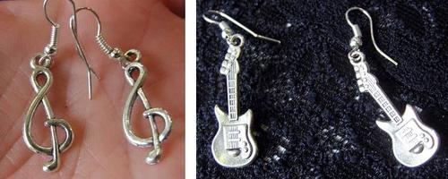 boucles d'oreilles clé de sol et guitare