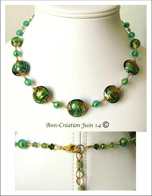 Collier Verre de Murano Authentique Vert d'Eau Feuille d'Or 24 Kt / Plaqué Or Gold Filled