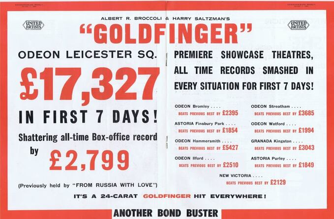 GOLDFINGER - SEAN CONNERY BOX OFFICE 1965