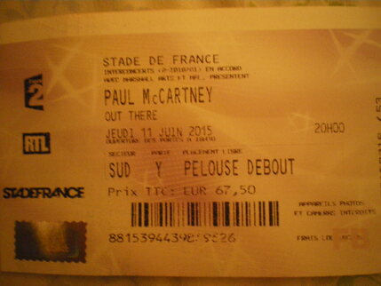 Mes concerts: Paul McCartney, le 11 juin 2015 au Stade de France
