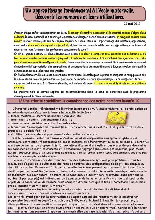 Recommandations pour la maternelle LES NOMBRES