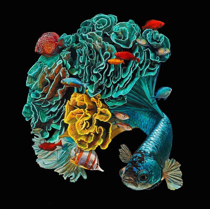 Peintures hyperréalistes de poissons fusionnés avec leur environnement Par Lisa Ericson