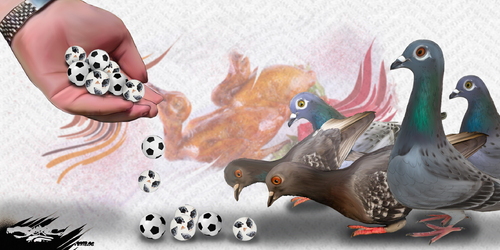 dessin de JERC et Akaku du mercredi 20 juin 2018 caricature pigeons sauce foot la balle aux pigeonniers www.facebook.com/jercdessin @dessingraffjerc
