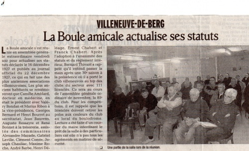 LA BOULE AMICALE ACTUALISE SES STATUTS