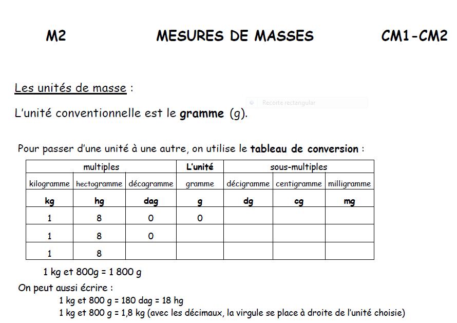 Les Mesures De Masse Lescm1cbs
