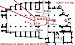 Localisation de la crypte et les souterrains de la cathédrale Saint-Vincent de Chalon sur Saône, le lundi 18 février 2019. (Albert Fagioli)