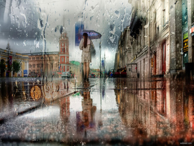 rain photography city