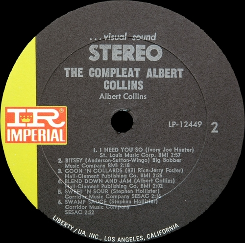"Albert Collins ‎: Album "" The Compleat Albert Collins "" Imperial Records LP-12449 [ US ]"