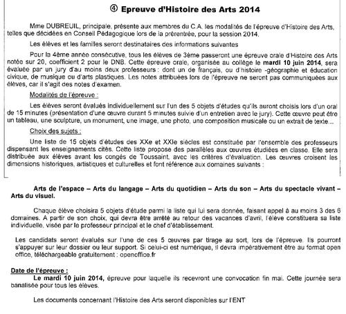 """Epreuve """"Histoire des Arts"""""""