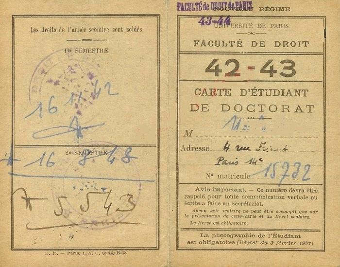 La Faculté de Droit de Paris sous l'Occupation :1942-1944