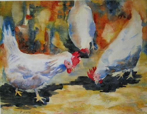 Agréable compagnie, aquarelle: les poules un de mes animaux préférés