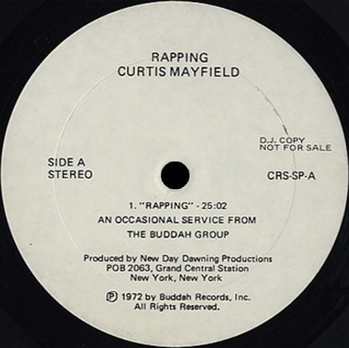 "Curtis Mayfield : Album Promotionnel "" Rapping "" Curtom Records CRS SP [ US ]"