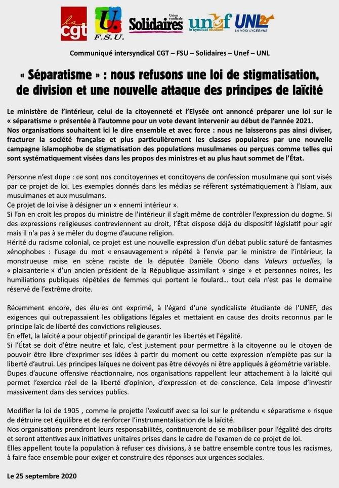 """""""séparatisme"""", une expression syndicale contre l'instrumentalisation de la laïcité!"""