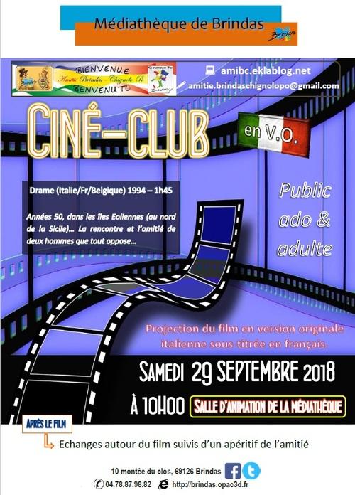 Notre prochain ciné-club 29 septembre 2018