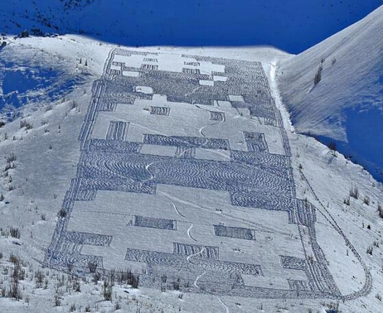 Snow Art Simon Beck 9 640x523 Simon Beck Crop Circle dans la neige