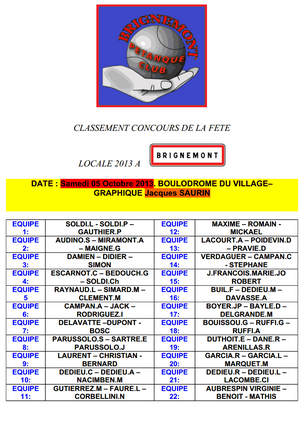 CONCOURS DE LA FÊTE LOCALE DE BRIGNEMONT