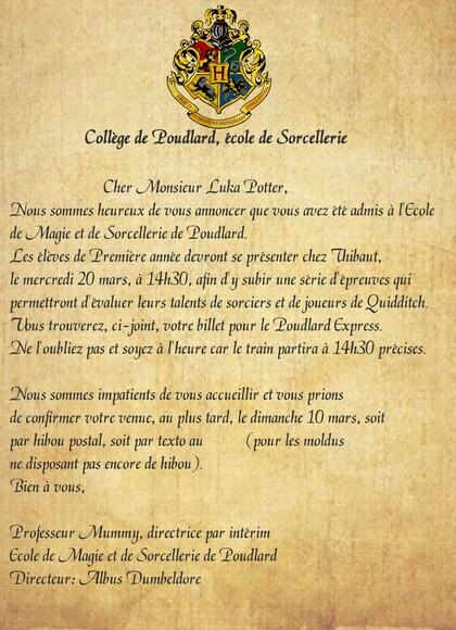 Anniversaire Harry Potter invitation lettre Poudlard