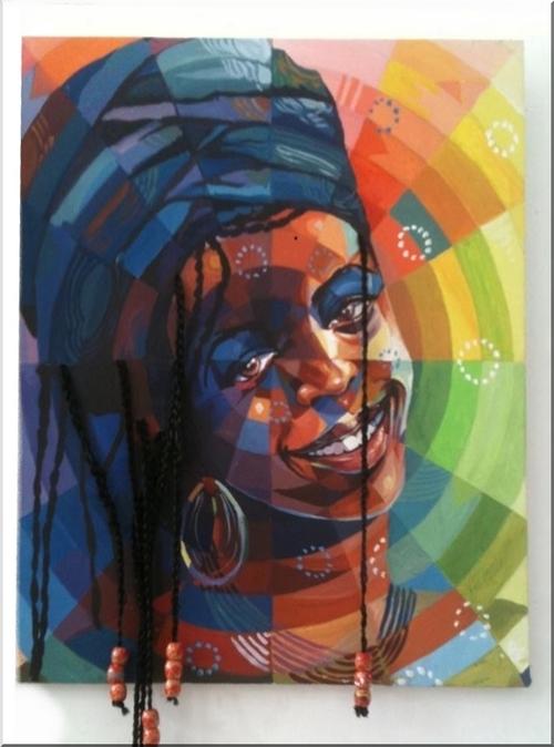 MAMAN AFRICA, acrylique sur toile : 50 x 50 cm