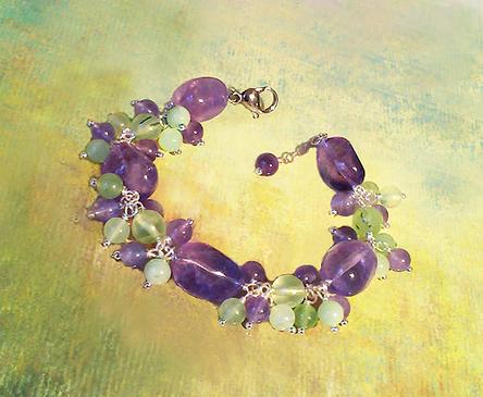 Bracelet Grappe Violet-Vert, Pierre d'Améthyste, Prehnite et Jade / Plaqué Argent