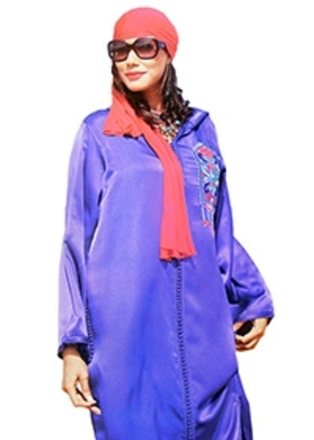 jilbab bleu avec broderie et djellaba marocain haute couture et kaftan DJ-S816